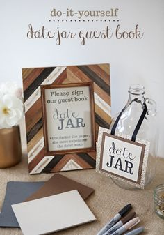 So cute! Have your guests share their date ideas for the guestbook | http://www.weddingpartyapp.com/blog/2014/10/23/5-easiest-diy-wedding-ideas/