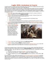 Luglio 1830: rivoluzione in Francia. Schema sintetico relativo alla rivoluzione del 1830 in Francia.