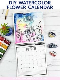 DIY Watercolor Flowe Calendar from Fox + Hazel // Watercolor Cards, Watercolor Flowers, Watercolor Paintings, Watercolor Ideas, Watercolours, Art Journal Inspiration, Journal Ideas, Painting Inspiration, Watercolour Tutorials