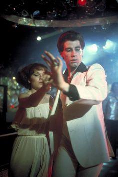 """""""Saturday Night Fever"""" movie still, 1977.  L to R: Karen Lynn Gorney, John Travolta."""
