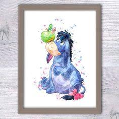 Winnie the Pooh Eeyore art print Disney by ColorfulPoster on Etsy