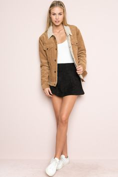 Brandy ♥ Melville | Elisha Fur Corduroy Jacket - Clothing