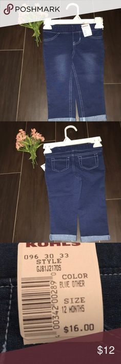 Girls 12 mo soft jean pants Cotton&polyester jean pants for a 12 mo old. NWT and never worn! jumping beans Bottoms Jeans