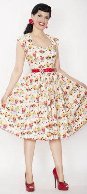 1950s Style Ivory Rose Sundae Swing Dress
