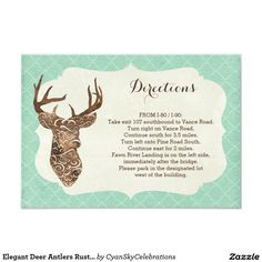Elegant Deer Antlers Rustic Country Directions 3.5x5 Paper Invitation Card #deer #antlers #rustic #country #wedding #turquoise #woodland #woodsy #natural #nature