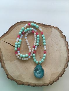 Long Druzy Layering Gemstone Necklace  Long by KatherineRoseDesign