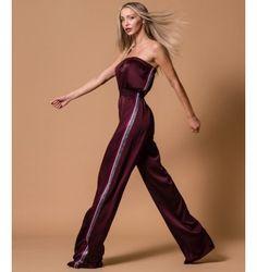 Σατέν Ολόσωμη Φόρμα Strapless - Βυσσινί Jumpsuit, Pants, Fall Winter, Dresses, Fashion, Overalls, Trouser Pants, Vestidos, Moda