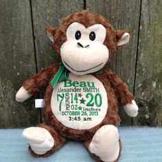 Personalized Baby Gift Monogrammed Monkey Birth Announcement Baby Gift Boy Embroidered by WorldClassEmbroidery, $39.99 Baby Boy