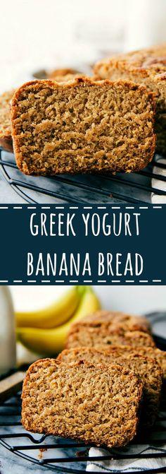 Delicious healthier Greek Yogurt banana bread: