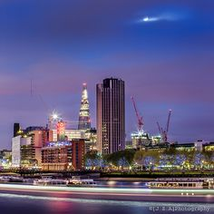 A Full Moon Over the South Bank while the Oxo and Shard shine brightly