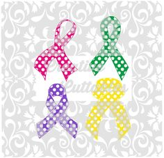 Polka Dot Awareness Ribbons for use with Silhouette or other craft cutters (.svg/.dxf/.eps)