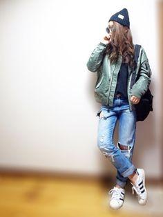 MA-1おNEW*ˊᵕˋ* カジュアルに(´ω`) Instagram/nyaobu27 Insta
