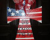 July 4th wood cross door decor hanger patriotic God Bless America