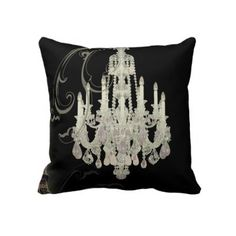 black white Chandelier vintage paris decor Pillow