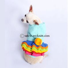 A stand out small dog clothes from Myknitt Designer Dog Clothes. Aqua blue colorful dog hoodie with colorful wavy skirts and cute pompom top of the hood. This is crocheted dog dress using 100% cotton yarn material very soft and comfortable. Any personalized dog sweater are welcome.  This listing is only for handmade dog clothes DF55 in size Small. Fits Neck:10 Fits Chest:16 Length:12  If you need size XS, S, or M, please contact me. I will make a new listing for you =) Please kindly check…