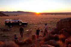 A lovely sunset game drive at the Klein-Aus Vista: Desert Horse Inn, shared with us by Safari Interactive Magazine Cosy Fireplace, Desert Tour, Wooden Decks, Monument Valley, Safari, Monster Trucks, National Parks, Scenery, Horses