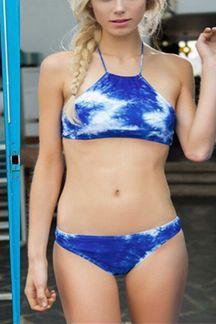 Azul Tie-dye alta Neck Bikini Set