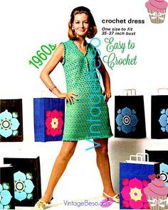 EASY Dress Crochet PATTERN Sexy 1960s Vintage CROCHET Pattern