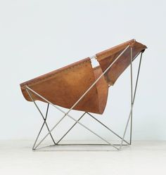 Paulin Butterfly Chair in Dark Brown Leather image 4