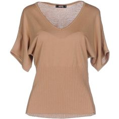 Kfg Jumper ($64) ❤ liked on Polyvore featuring tops, sweaters, camel, short sleeve tops, short sleeve v neck sweater, rayon tops, beige sweater and vneck sweater