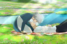 Hauru et Sophie [Howl and Sophie] ~ Le Château Ambulant [Howl's Moving Castle] ~ SuperBe FañArt qui inspire douceur, tendresse et amøur ~ [❤️Studio Ghibli❤️] Hayao Miyazaki, Howl's Moving Castle, Howls Moving Castle Wallpaper, Totoro, Studio Ghibli Art, Studio Ghibli Movies, Film Anime, Anime Art, Awesome Anime
