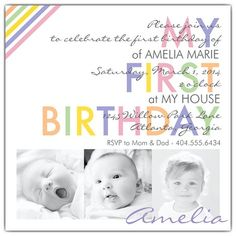 Color Pop Photo First Birthday Invitations from PaperStyle; love the pastel color palette!