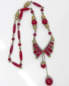 VINTAGE-ART-DECO-CZECH-NEIGER-LIPSTICK-RED-GLASS-BEAD-PANEL-DROP-NECKLACE