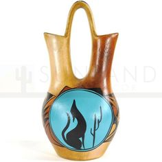 One-of-a-kind North American Southwestern art pottery wedding vase No. 119 is artfully hand painted in terra cotta, red, turquoise, black. Southwestern Vases, Southwest Home Decor, Southwestern Decorating, Desert Coyote, Ranch Style Decor, Cactus Wall Art, Wildlife Decor, Wedding Vases, Lodge Decor