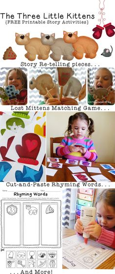 """CLASSROOM: Example of Phonological Awareness Activity Connected to a Book: FREE """"Three Little Kittens"""" Printable Activities (includes activities for pre-K to Nursery Rhyme Crafts, Nursery Rhymes Preschool, Nursery Rhyme Theme, Classic Nursery Rhymes, Preschool Themes, Preschool Crafts, Rhyming Activities, Book Activities, Fairy Tale Theme"""