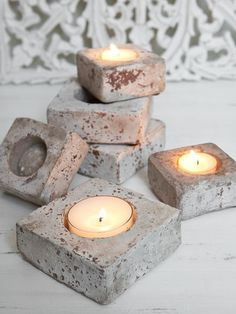 rustic concrete votive holders -- perhaps can be done by sanding after painting? (Diy Candles Making) Concrete Candle Holders, Diy Concrete Planters, Clay Candle Holders, Cement Pots, Beton Design, Concrete Design, Concrete Crafts, Concrete Projects, Deco Champetre