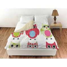 "Thumbprintz Owls Queen Duvet Cover, 88"" x 88"""