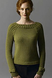 Bow-Tie Pullover by Irina Poludnenko FREE knitting pattern: elegant sweater w/ ribbed raglan sleeves and ballet-neck