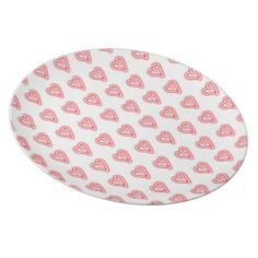 """""""Squee"""" #red #hearts #plate for Valentine's Day by http://www.zazzle.com/spkcreative/gifts?cg=196353653884536143&GroupProducts=False&pg=1&sd=desc&st=date_created #valentine #xoxo #love #cute #trendy #bold #modern #decor"""
