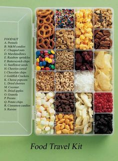 So the above items aren't all healthy. But the idea is great: Turn a tackle/craft box into your own personal wonderland of snacks. This is so thrilling you should probably just make one and carry it around with you at all times.