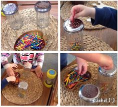 Fine motor add colours to shakers to match too Preschool Fine Motor Skills, Motor Skills Activities, Gross Motor Skills, Activities For Kids, Kindergarten Activities, Finger Gym, Alzheimers Activities, Funky Fingers, Physical Development
