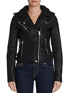 Cropped Faux Leather Jacket - SaksOff5th