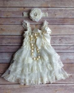 2pc Set: Cream Ivory Lace Toddler Baby Dress, Flower Girl Dress, Vintage Toddler Dress, Rustic Flower Girl Dress, Beach Wedding Dress on Etsy, $35.00