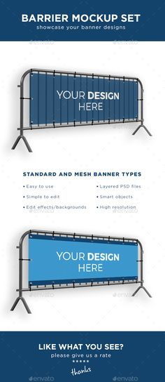 Barrier Fence Banner Mockup Set — Photoshop PSD #realistic #building fence • Available here → https://graphicriver.net/item/barrier-fence-banner-mockup-set-/17269059?ref=pxcr