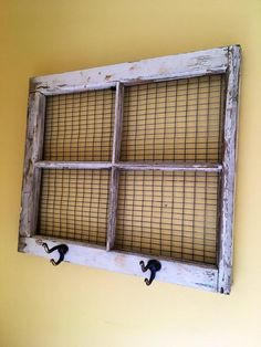 Vintage Window Frame Wall Decor with Antique Hooks Window Frame Crafts, Old Window Projects, Old Window Frames, Faux Window, Frame Wall Decor, Frames On Wall, Window Ideas, Window Art, Frames Decor