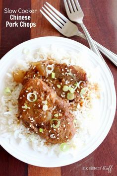 Slow Cooker Chinese Pork Chops from Six Sisters' Stuff | We love these Slow Cooker Chinese Pork Chops! They make a delicious, healthy, quick dinner that your whole family will love!