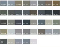 """Résultat de recherche d'images pour """"couleurs ral gris"""" Ral Paint, Taupe Color Palettes, Front Door Colors, Front Doors, Downstairs Toilet, Clinic Design, Ral Colours, House Doors, Kitchen Colors"""