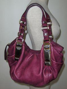 B. Makowsky Satchel Alexandria Handbag Shoulder Bag Purse Hobo Tote Cranberry Mauve