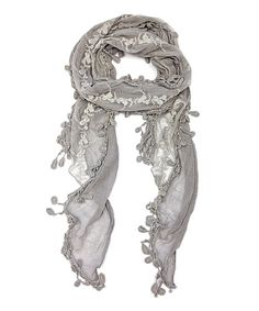 Look at this Gray Floral Embroidered Fringe Scarf on #zulily today!