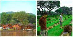 Buildings and cemetery near the River Kwai in Thailand