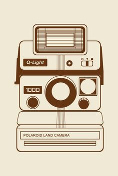 Retro Polaroid Land 1000 camera (Q-Light) vector illustration in brown and beige. Design by Cheyney is a small boutique Graphic Design business based in Auckland, New Zealand. Cheyney offers a range of services for clients all around the world. Her specialties include packaging, logo, branding, print, digital and website designs.