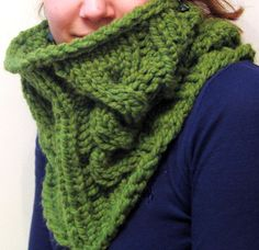 The Cable Knit Cowl Wool Blend Grass Green St by meganEsass, $42.00