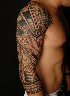 Tribal Hawaiian Tattoo Art On Sleeve For Men - http://www.hdtattoodesign.com/tribal-hawaiian-tattoo-art-on-sleeve-for-men/