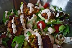 Zucchini Fritter Salad with Spicy Yogurt Dressing - Vaguely Marci