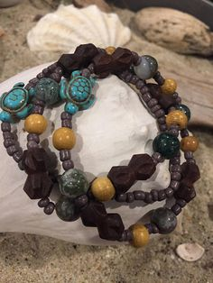 Beachy earthy colored bracelet set.  Beautiful wooden beads