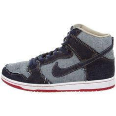 Pre-owned Nike Dunk High Pro Sneakers ($95) ❤ liked on Polyvore featuring men's fashion, men's shoes, men's sneakers, blue, mens shoes, mens sneakers, mens lace up shoes, nike mens shoes and mens blue sneakers